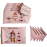 Lushomes Cupcake Design 6 Cotton Mats & 6 Printed Cotton Napkins (12 Pcs)