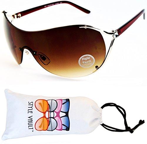 V06-vp Style Vault Aviator Shield Rimless Sunglasses (N1534D Gold/Brown-Brown, UV400)