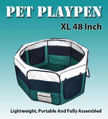 "New 48"" Pet Dog Xl Green Playpen Kennel Exercise Pen Crate Free Carrying Bag"