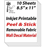 """Vinyl Oasis - Inkjet Printable Peel & Stick Removable Fabric Wall Decal Material (10 Sheets) 8.5""""x11"""""""
