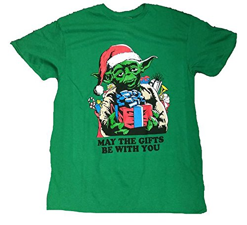 Christmas Star Wars Yoda May The Gifts Be With You Graphic T-Shirt (Small)