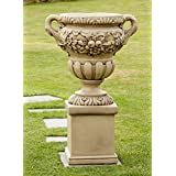 Large Garden Planter - Gordes Stone Vase on Pedestal