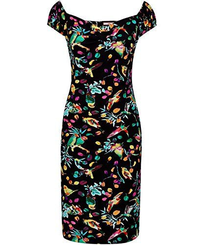 Joe Browns Women's Truly Tempting Dress Body Con Animal Print Short Sleeve Dress, Multicoloured (Bird), 12