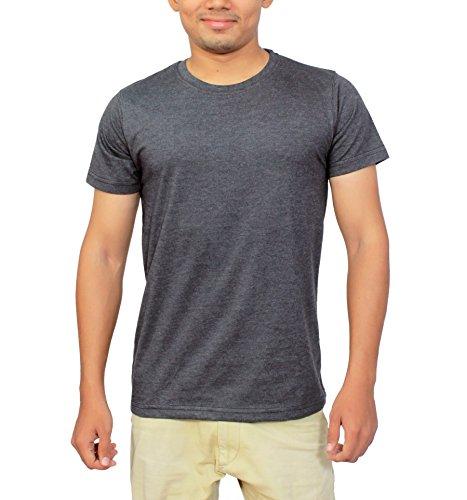 Megsto Plain Cotton round neck T-shirt (Dark Grey) L Size