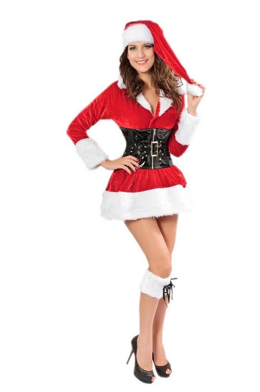 Lukis Damen Falten Minikleid Langarm Kostüm Cosplay Dessous Babydoll Weihnachten