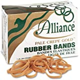 Alliance Pale Crepe Gold Size #64 (3 1/2 x 1/4 Inches) Premium Rubber Band , 1 Pound Box (Approximately 490 Bands per Pound) (20645)