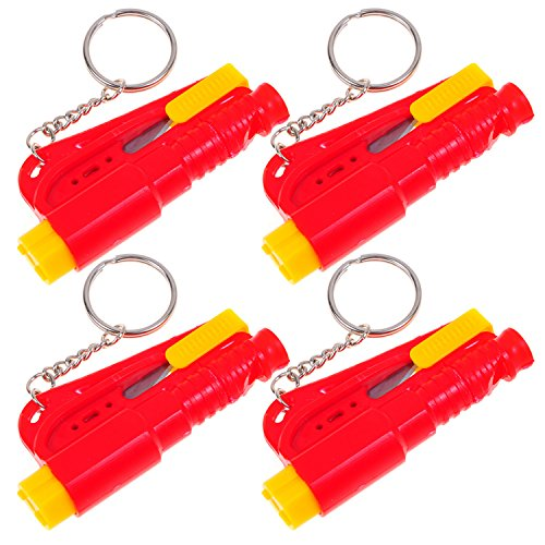 4 Set Life Hammer Car Emergency Tool Emergency Window Breaking Tool Safety Hammer Auto Keychain Belt Car Knife Emergency Rescue Tool Glass Breaker Car Safety Tool Window Broken Tool Seat Belt Cutter Red front-83206