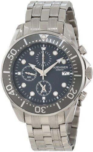 Rudiger Men's R2001-04-011 Chemnitz Grey IP Rotating Bezel Grey Dial Chronograph Watch