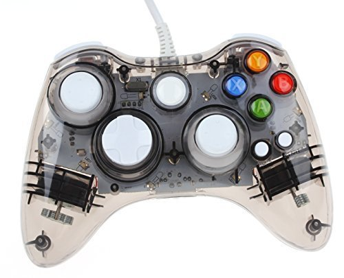 Kycola GC20 Dual Vibration Wired Gamepad Controller Transparent LED for Microsoft Xbox 360 / PC (Black)