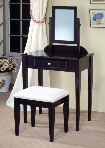 Vanities Contemporary Vanity And Stool With Fabric Seat By Coaster front-905130