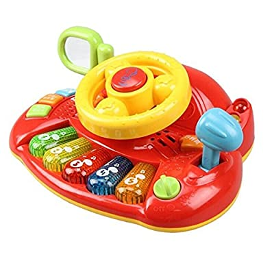 Fajiabao Birthday Gifts for Kids Electronic Steering Wheel Music Keyboard Piano with Beautiful Flashing Lights Music Developmental Toy Learning Toy for Baby Gift