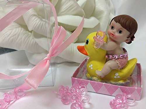 Baby Girl With Yellow Duck Ducky Favor Cake Topper Centerpiece Decoration front-1056807