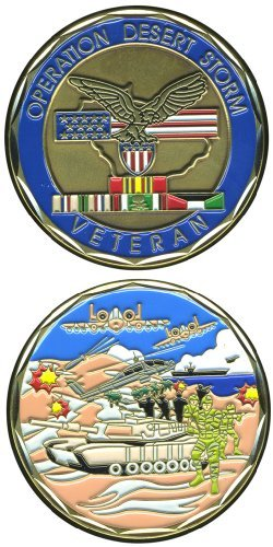 United States Military US Armed Forces Operation Desert Storm Veteran - Good Luck Double Sided Collectible Challenge Pewter Coin by Eagle Crest