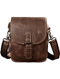 Men's Genuine Leather Waist Bag 2 Use Small Shoulder Satchel Bag Waist Belt Pack ... (Brown)