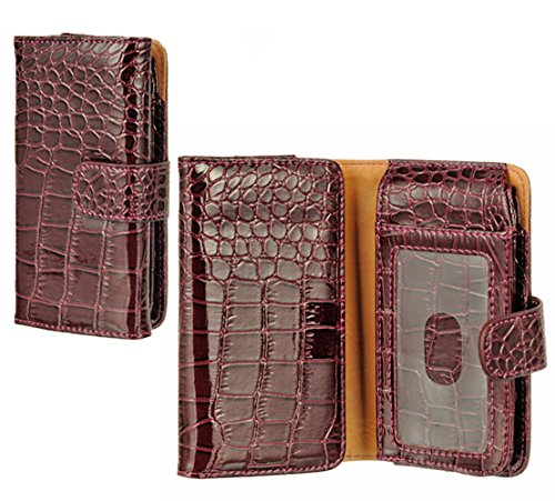 Mylife Burgundy Wine {Crocodile Design} Faux Leather (Card, Cash And Id Holder + Magnetic Closing + Hand Strap) Slim Wallet For The Iphone 5C Smartphone By Apple (External Textured Synthetic Leather With Magnetic Clip + Internal Secure Snap In Hard Rubber front-49466