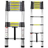 XtremepowerUS Portable 12.5 Aluminum Telescoping Extension Ladder