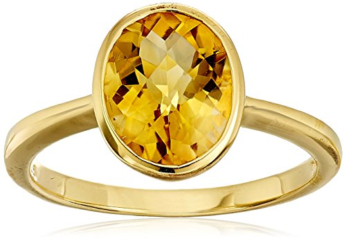 Citrine Oval Cut Ring in Yellow Gold Flashed Sterling Silver, Size 7