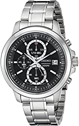 Seiko Men's SKS445 Stainless Steel Chronograph Watch with Black Dial