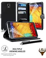Stylish Protective 100% REAL GENUINE COW LEATHER FLIP CASE POUCH COVER CARD HOLDER WALLET FOR Samsung Galaxy Note 3 III N9000 N9005 + Includes STYLUS PEN + SCREEN PROTECTOR (BLACK)