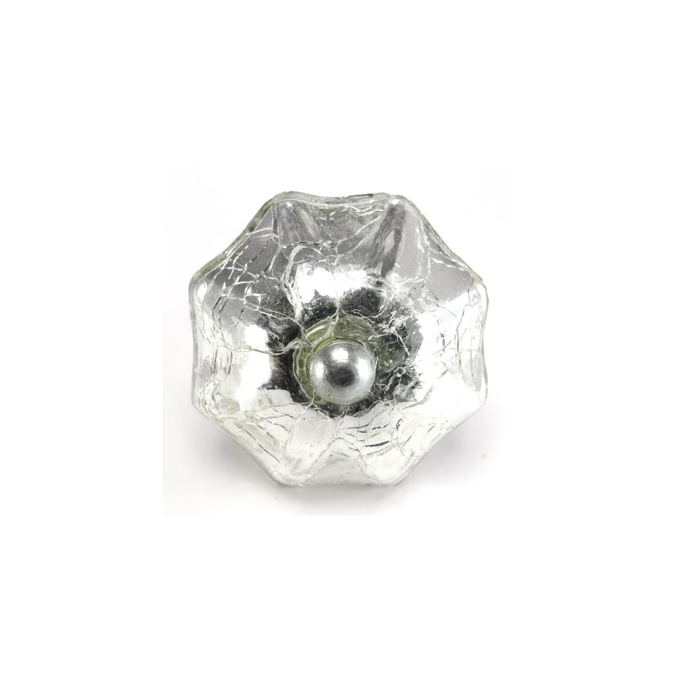 Crackled Mercury Glass Cabinet Knobs, Drawer Pulls & Handles Set/2pc ~ K189 Decorative Style Mercury Glass Melon Cabinet Knobs with Nickel Hardware