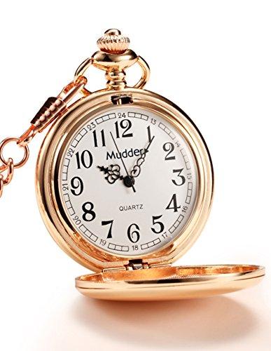 Mudder Classic Smooth Vintage Steel Pocket Watch For Men, Rose Golden 0