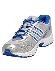 Adidas Men's Blazon Silver And Blue Mesh Running Shoes