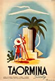 C1952 Vintage Travel ITALY See TAORMINA by Mario Puppo 250gsm ART CARD Gloss A3 Reproduction Poster