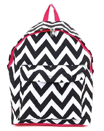 Microfiber Chevron Backpack with Front Zipper Pocket and Mesh Side Pocket (Black/White)