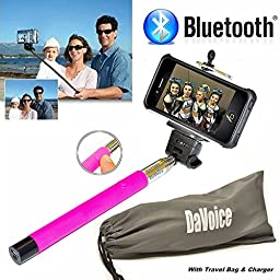 Selfie Stick iPhone 6 - Best Selfie Stick - Bluetooth Selfie Stick iPhone 5 5s 5c 6 6s Plus SE 4 4s - iPhone Selfie Stick with Remote (Pink) Monopod Extendable Pole Galaxy S5 S6 S7 - DaVoice