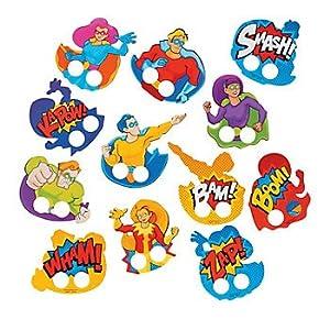 Super Hero Cardboard Finger Puppets - 72 pcs by Novelty Toys