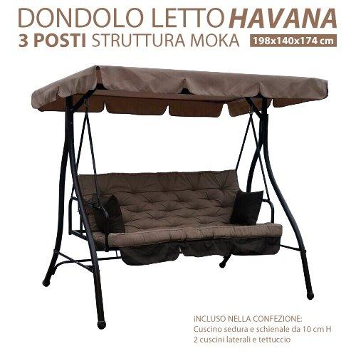 Dondolo Letto Da Giardino 3 Posti Modello Havana Struttura In Metallo Colore Moka Con Tetto e Cuscini
