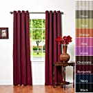 Solid Grommet Top Thermal Insulated Blackout Curtain 84  Length 1 Pair-BURGANDY - GT