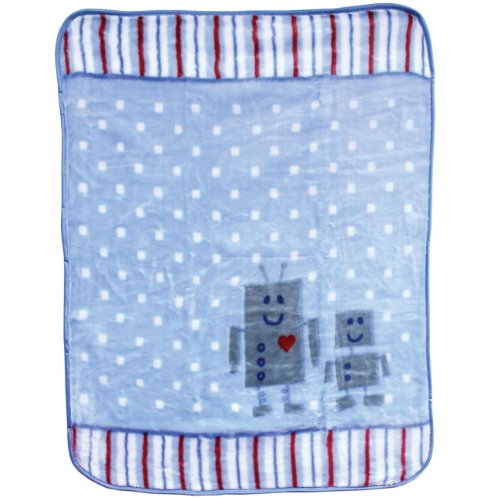 Luvable Friends Fluffy Plush Baby Blanket With Satin Trim, Blue