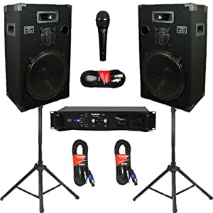 new studio speakers 15 inch three way pro audio monitor pair stands amp cables. Black Bedroom Furniture Sets. Home Design Ideas