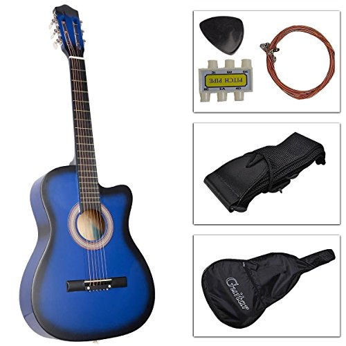 "38"" Inch Student Beginner Blue Acoustic Cutaway Guitar With Carrying Case & Accessories & Directlycheap(Tm) Translucent Blue Medium Guitar Pick"