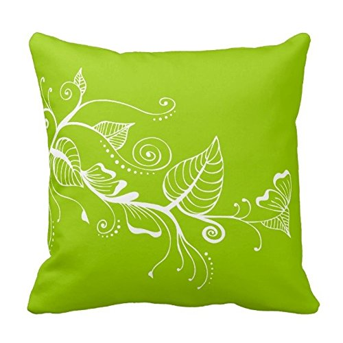 White Leaves on Lime Green Throw Pillow Case Cover Home Decor Office Decorative Square 18X18 Inches