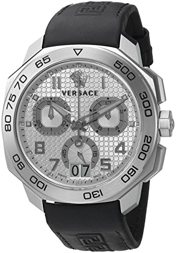 Versace-Mens-DYLOS-CHRONO-Swiss-Quartz-Stainless-Steel-and-Black-Leather-Casual-Watch-Model-VQC070015