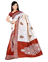 Shivam Sarees Bhagalpuri Silk Brown Abstract Printed Saree