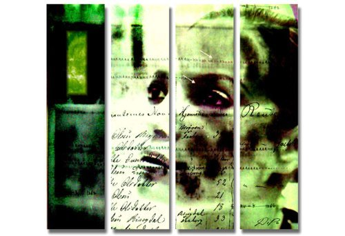 Stilvoll und modern!!! 4 teiliges Deko Bild auf Leinwand xxl large (Dreamer_big_4x30x110cm) HD Bilder fertig gerahmt mit Keilrahmen groß. Ausführung schöner Kunstdruck auf echter Leinwand als Wandbild mit Rahmen. Preiswerter als Ölbild Gemälde Poster Plakat mit Bilderrahmen. Picture Typ (abstrakt Frau Kopf stolz modern Shiluetten Umrisse Schrift Formen grün schwarz). 100% Made in Germany.