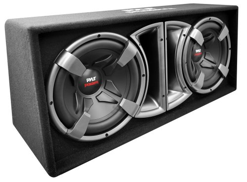 Pyle Plpps212 Pyle Power Dual 12-Inch Subwoofer Enclosure - Slim Design Forward Firing Vented System - Set Of 2