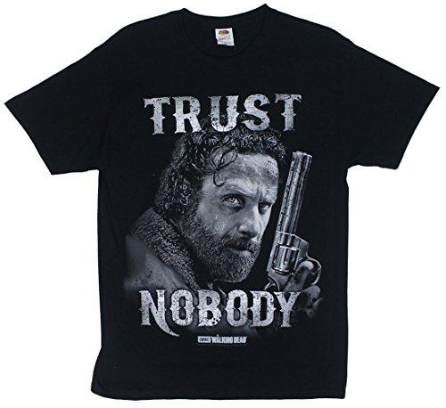 Walking Dead Rick Grimes Trust Nobody Men's Black Shirt, XX-Large