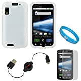 Clear Rubberized Protective Gel Silicone Skin Cover Case for AT&T New Motorola Atrix 4G Dual Core Android Smart Phone MB860 (Olympus/Atrix 4G) + Clear Screen Protector + Black Retractable Micro USB Data Cable Cord + SumacLife TM Wisdom Courage Wristband