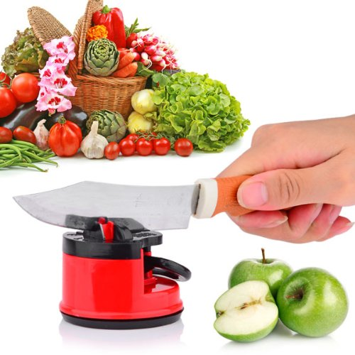 Home Smart Knife Sharpener With Secure Suction Pad - Red + Black 1 Package.