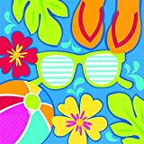 "Amscan Hawaiian Luau Beach Summer Splash Luncheon Napkins (36 Piece), Multi Color, 6.5 x 6.5"""