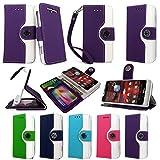 Cellularvilla® Wallet Case for Motorola Droid Razr M Xt907 4g LTE Verizon Pu Leather Wallet Card Flip Open Case Cover Pouch. (Purple White)