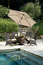 Lake Como Patio Dining Set with Umbrella and Base (5 Piece, Wicker) by La-Z-Boy Outdoor