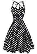 Anni Coco Women's Halter 1950s Vintage Swing Polka Dots Tea Dresses Multi Colored