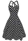 Anni Coco Women's Halter Polka Dots 1950s Vintage Swing Tea Dresses Black Large