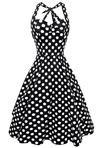 Anni-Coco-Womens-Halter-Polka-Dots-1950s-Vintage-Swing-Tea-Dresses-Multi-Colored