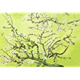 LARGE FLORAL CANVAS ART GREEN VAN GOGH BLOSSOM A1 READY TO HANG